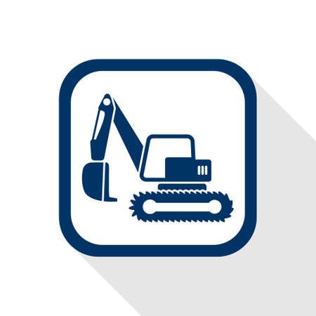 dredger: square blue icon excavator with long shadow