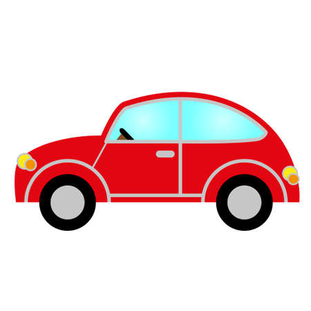 prestige car: red car with windows, wheels, lights, bodywork and steering wheel Illustration
