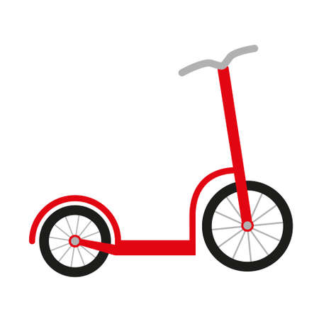 red scooter with big and small wheel and grey handlebar Ilustracja