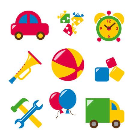 caja de cerillas: los juguetes del beb� - cuerno, coche, rompecabezas, reloj despertador, bola, dados, herramientas, cami�n, globos