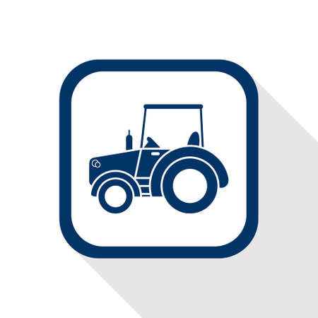 agronomic: square blue icon tractor with long shadow Illustration