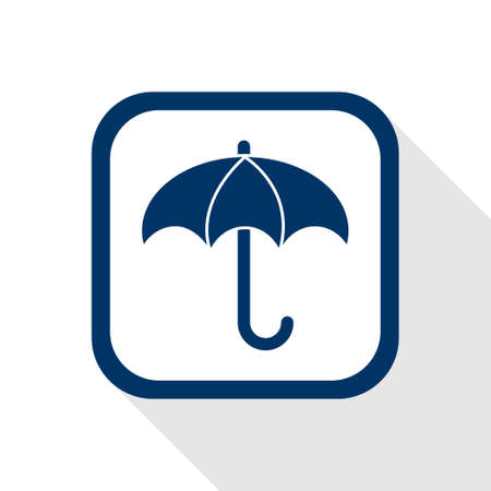 buckler: square blue icon umbrella with long shadow