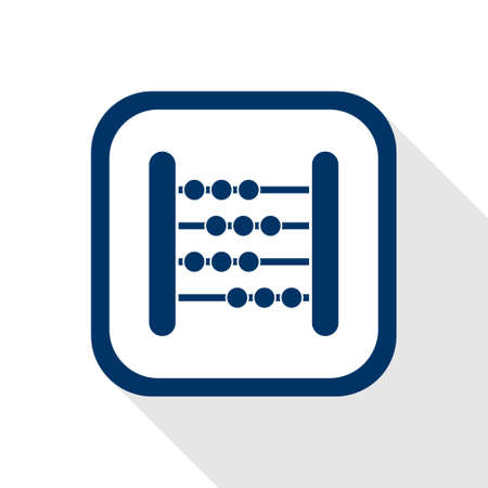 square blue icon abacus with long shadow Vector