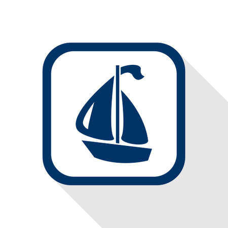 square blue icon boat with long shadow Vector