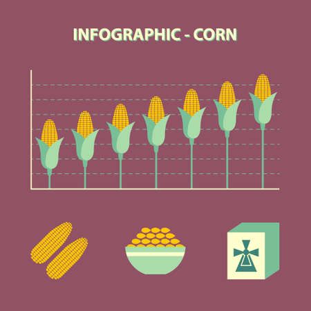gristmill: infographic with graph of increase corn and food icons in flat design