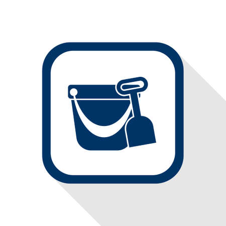 sandbox: square blue icon pail and shovel with long shadow