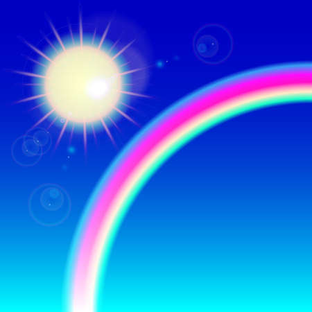 bask: sunny weather background with reflection and colorful rainbow