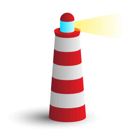 sea freight: simple modern icon red lighthouse with beam of light