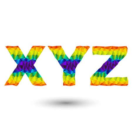 무지개 알파벳 글꼴 - 삼각형 디자인 - 전,와, zed