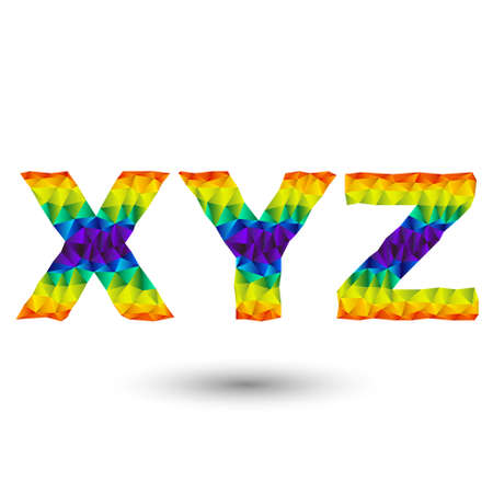 ex: rainbow alphabet font in triangular design - ex, wy, zed Illustration