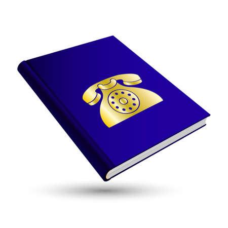contact book: libreta de contactos de color azul oscuro con la comunicaci�n del oro 3d icono de tel�fono