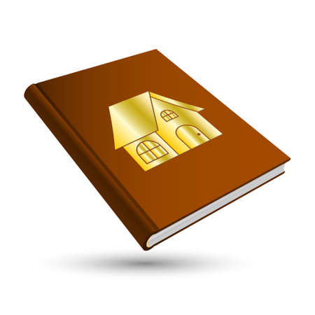 residency: brown home book with gold building 3d icon house Illustration