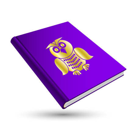violet knowledge book with gold education 3d icon owl Stock Vector - 28915424