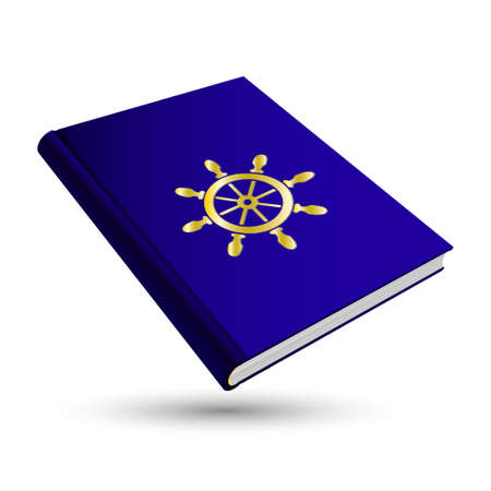 to navigate: blue navigate book with gold business 3d icon rudder Illustration