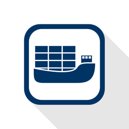 square blue icon ship with long shadow Illustration
