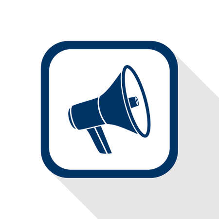 public speaker: square blue icon megaphone with long shadow