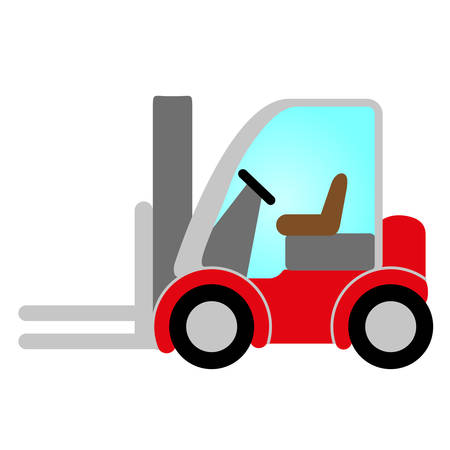 building safety: red forklift truck icon with glass, cabin, wheels - symbol of logistic, building, safety and transport of goods
