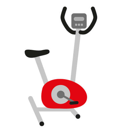 hometrainer: red hometrainer stationary bicycle, training simulator, exercise bike with display and black seat - symbol of sport and healthy lifestyle
