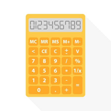 sign equals: yellow calculator in flat design with long shadow and set of digital numbers - symbol of count, calculation, account and math Illustration