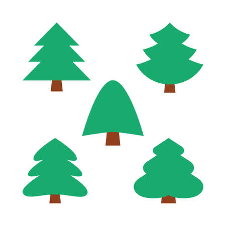 set of five christmas simple trees in natural green color without decoration Illusztráció