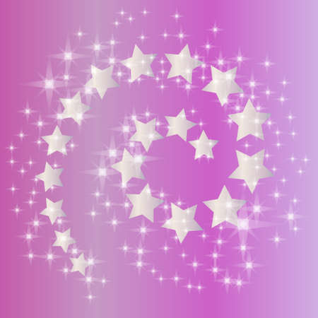 magic pink background with spiral of silver stars and stream of shine