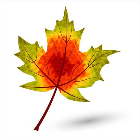 paiting: autumn maple leaf in triangular design colored in autumnal colors