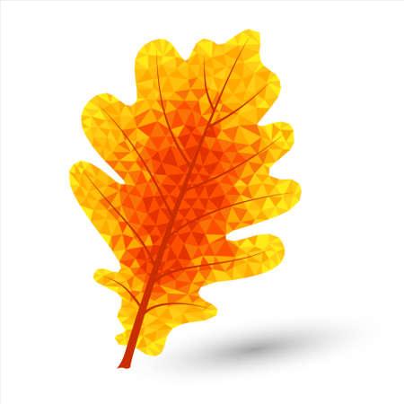 paiting: autumn oak leaf in triangular design colored in autumnal colors Illustration