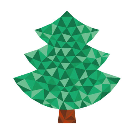 christmas simple coniferous tree in triangular design in natural colors Vector