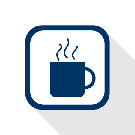 tearoom: square blue icon with long shadow - cup of tee or coffee - symbol of cafe, tearoom, hot drink, break, pause