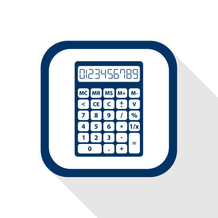 reckon: square blue icon calculator with long shadow - set of digital numbers - symbol of count, calculation, account and math