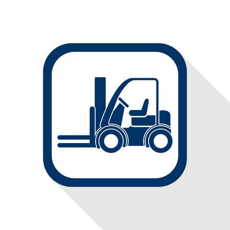 vierkante blauwe icoon heftruck met lange schaduw - symbool van logistiek, bouw, veiligheid en vervoer van goederen