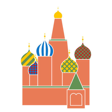 tsar: saint basil cathedral in red square in Moscow - symbol of Russia - flat design Illustration