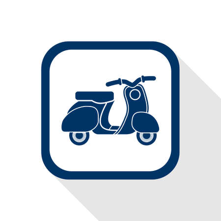 square blue icon retro no name scooter - symbol of transport in city, quick delivery and old nostalgic times