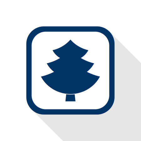 square blue icon tree with long shadow - symbol of forest, woodworking industry, wood, conifer, firewood, mulch, removal and stump grinding