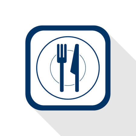 placemats: square blue icon plate and cutlery with long shadow - symbol of restaurant menu, kitchen, food, lunch and dinner