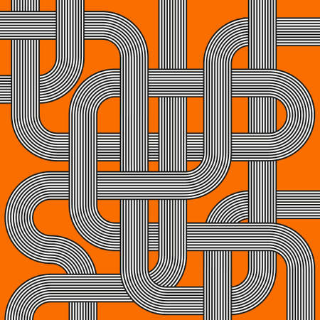 confused: labyrinth black and white striped tubes on orange background - maze