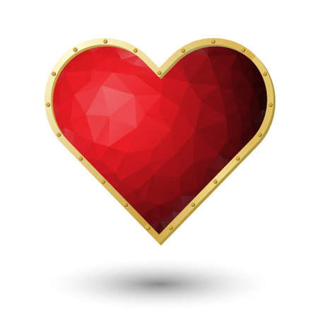 poetic: realistic red heart jewel with gold frame and rivets isolated on white background
