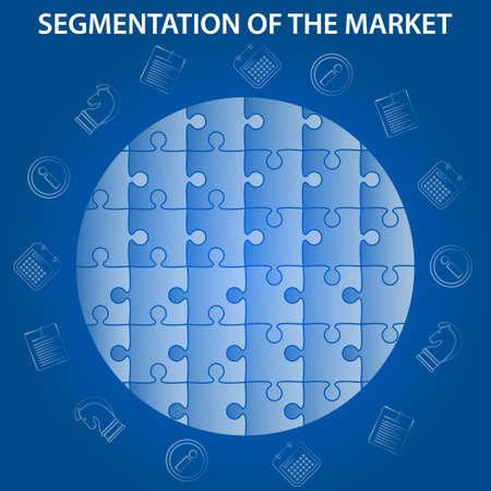 la segmentación del mercado de infografía sobre fondo azul - rompecabezas globo del mundo con iconos económicos - estrategia, información, documentos y planificación diario