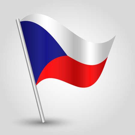 czech flag: vettoriale 3d sventolando la bandierina ceca in pole - simbolo nazionale della Repubblica Ceca con il bastone in metallo inclinato
