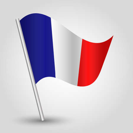 french symbol: vector 3d waving french flag on pole - national symbol of  France with inclined metal stick