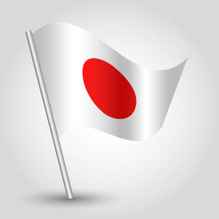 vector 3d waving japanese flag on pole - national symbol of Japan with inclined metal stick Vector