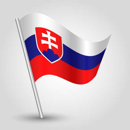 goverment: vector 3d waving slovak flag on pole - national symbol of  Slovakia with inclined metal stick