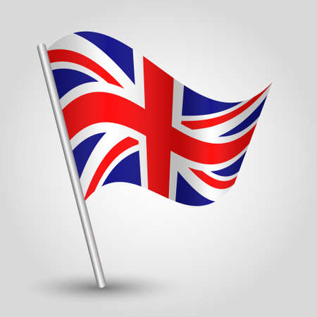 vector 3d waving english flag on pole - national symbol of United Kingdom UK - England and Ireland  with inclined metal stick Vector