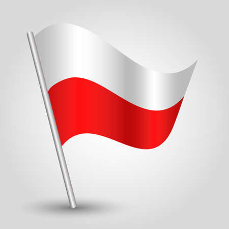 flagged: vector 3d waving polish flag on pole - national symbol of poland with inclined metal stick Illustration