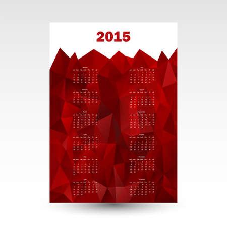 red wall calendar card 2015 in triangular design - copy space Vector