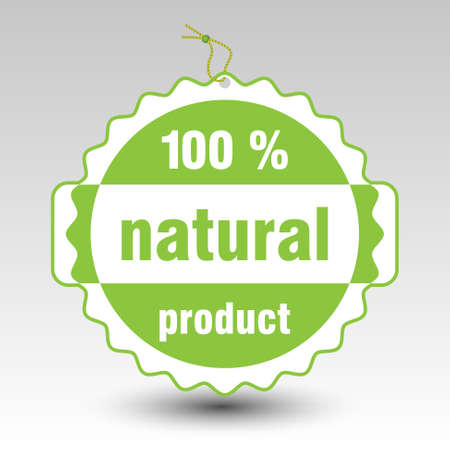 comerce: vector green 100 % natural product paper price tag label with string eyelet Illustration