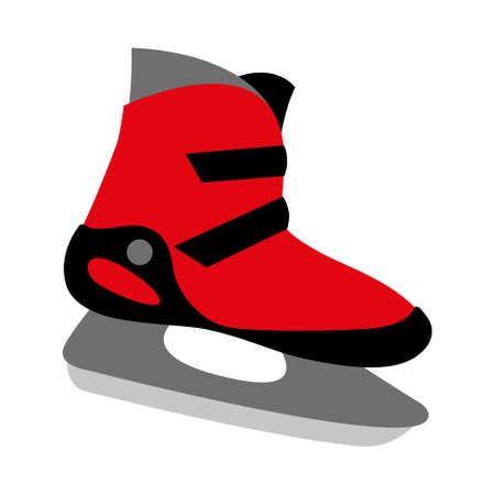 buckles: red ice skates boot icon with two buckles - symbol of skating, winter sport, recreation and motion