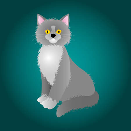 sea green: cartoon of hairy gray cat with white chest and yellow eyes on the sea green background