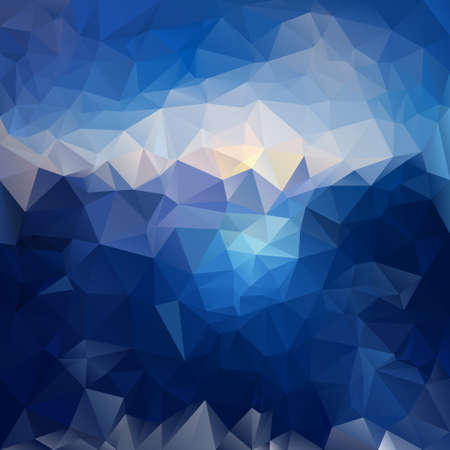 sunup: vector polygonal background with irregular tessellations pattern - triangular design in sea and sky colors - dark blue