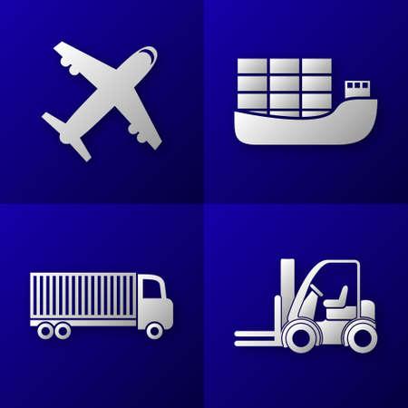 businesslike: conjunto de iconos de importaci�n de exportaci�n en el fondo azul - avi�n, buque de carga, camiones y montacargas - transporte Vectores